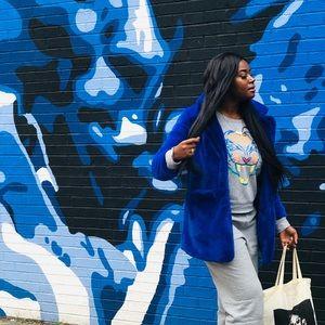 Jackets & Blazers - Blue Faux Fur Jacket